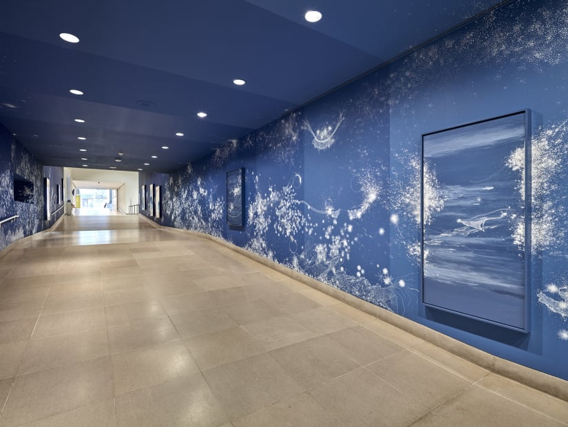 Sandra Cinto mural painting fading from dark blue to light blue