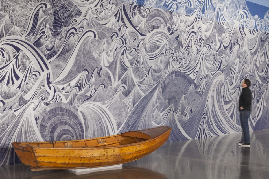 Large wave mural with boat