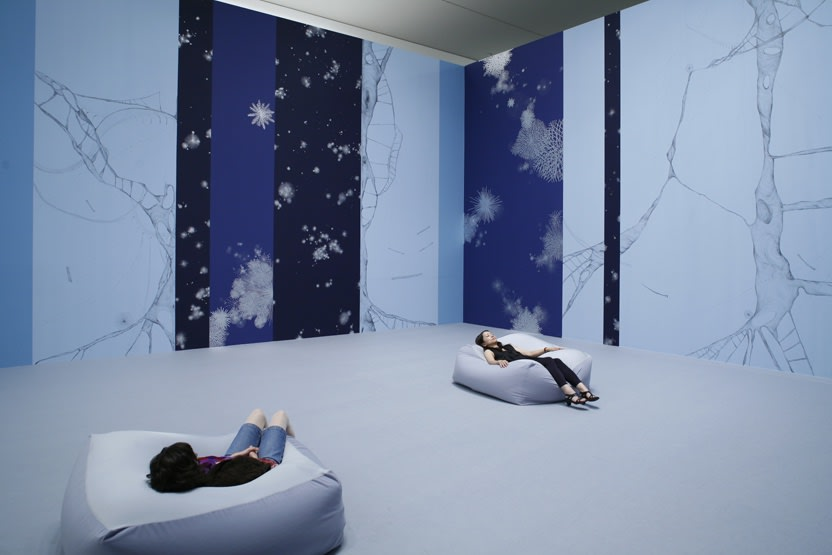 blue room wall painting with bean bags