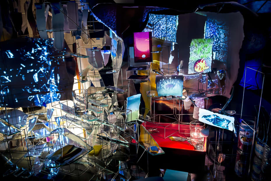 Sarah Sze installation, projections on a desk