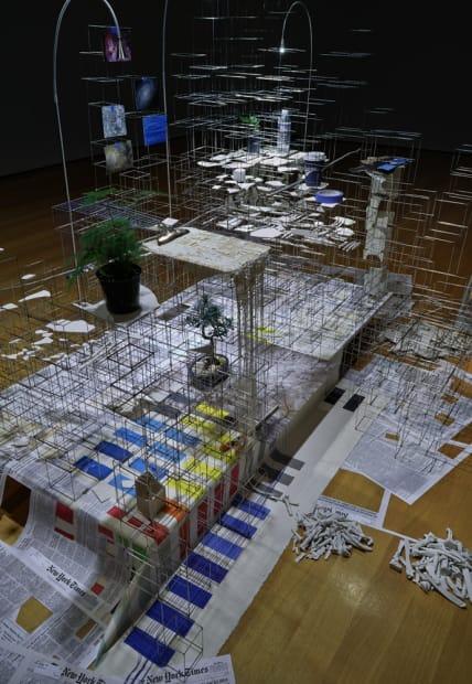 installation view in darkened room of sculpture