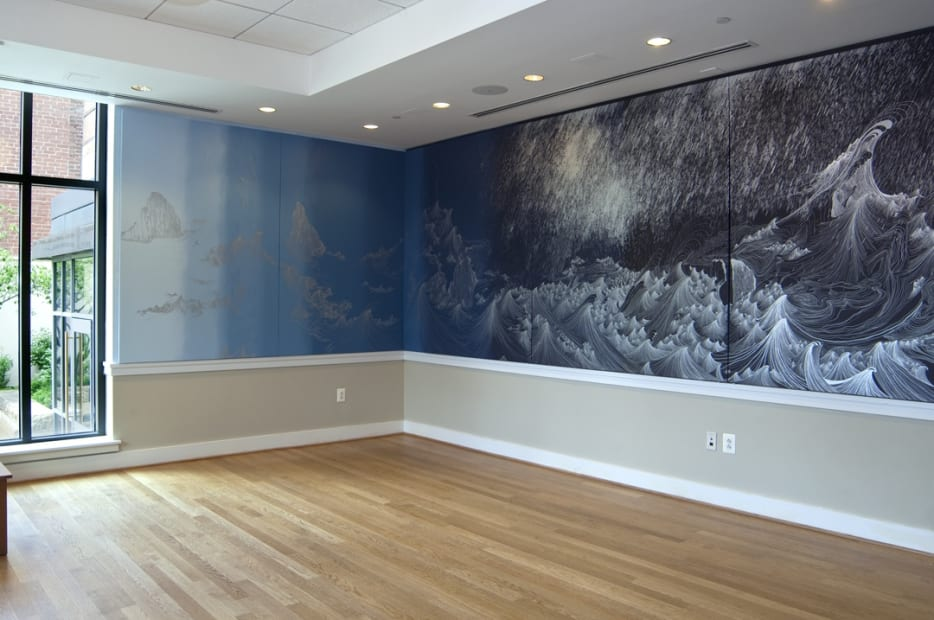 installation view of Cinto wall painting blue shades and wave drawings