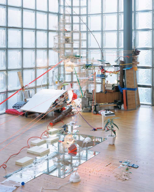 Image of an installation image at Hermes, Tokyo -- multi purpose objects creating a sculpture