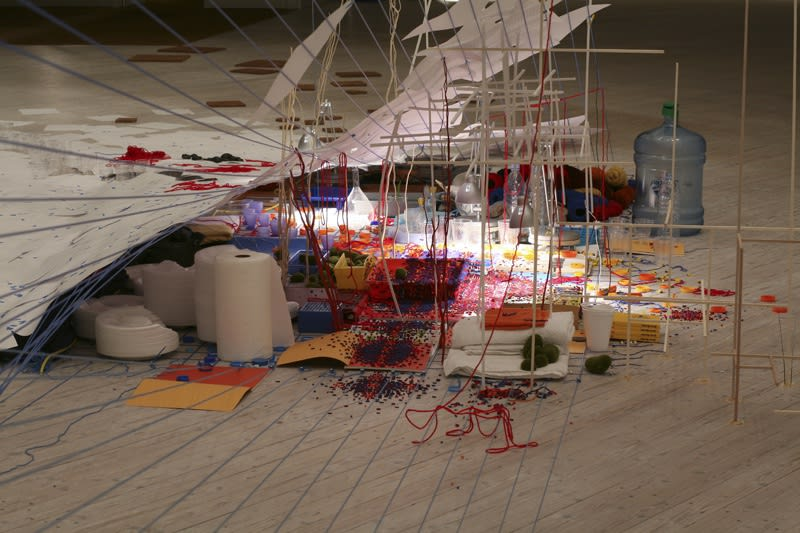 Detail image of a Sarah Sze sculptural installation