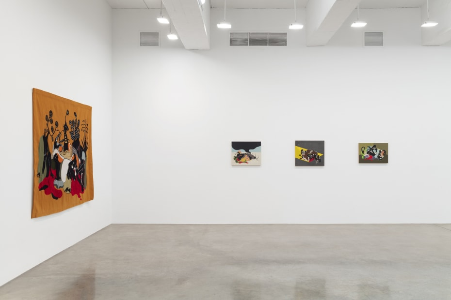 installation view of tapestries and paintings