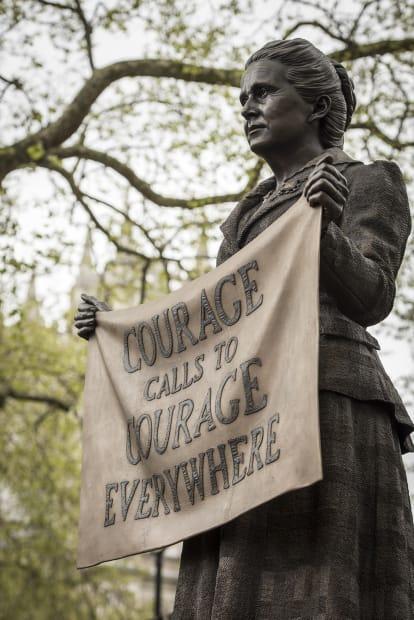 image of Gillian Wearing bronze statue of Millicent Fawcett