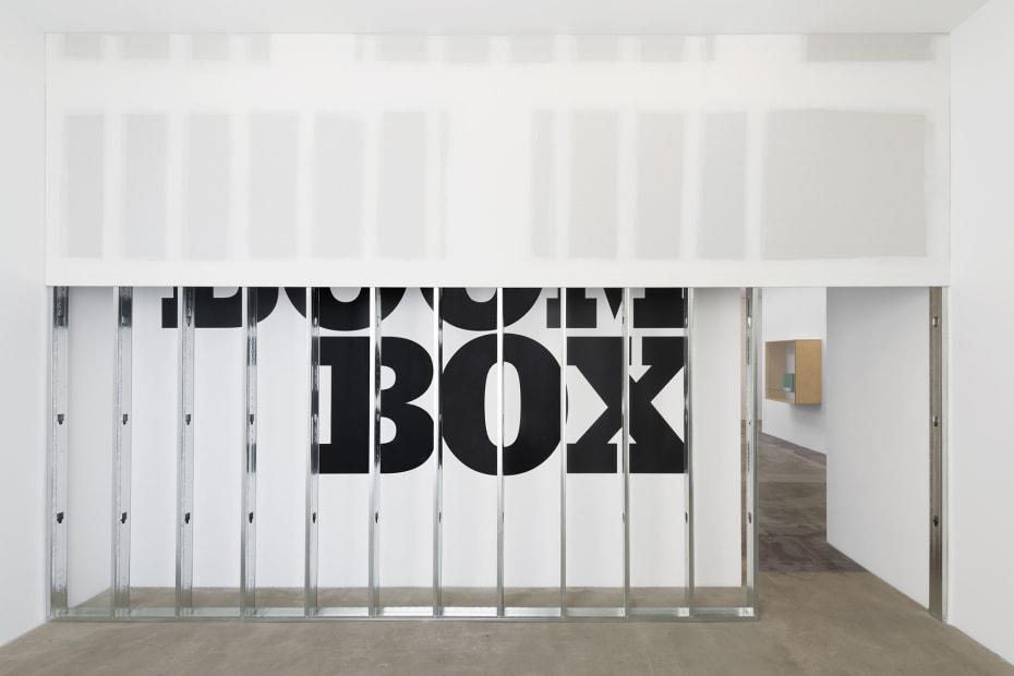 Haim Steinbach installation view boom box text