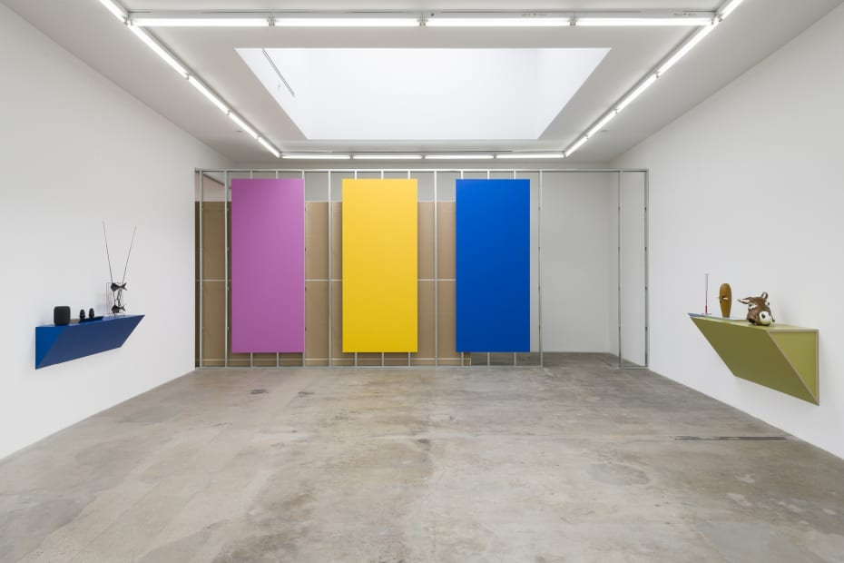 Haim Steinbach installation view colored panels