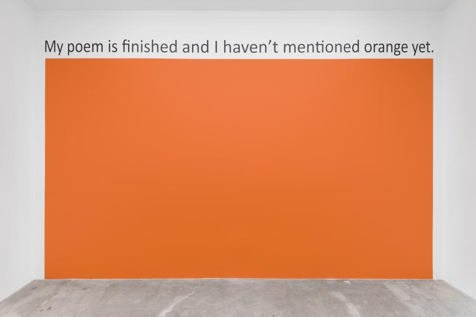 Haim Steinbach installation view orange wall text