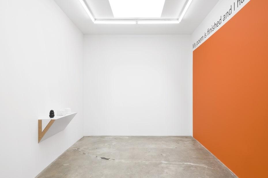 Haim Steinbach installation view orange wall text and shelf