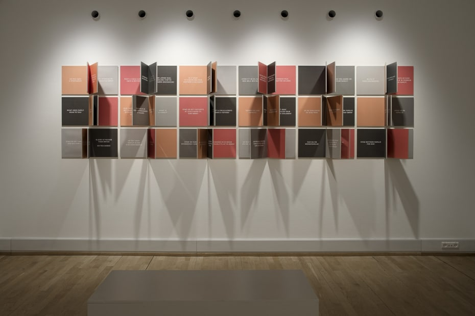 image of Gillian Wearing wall installation with text and moveable panels