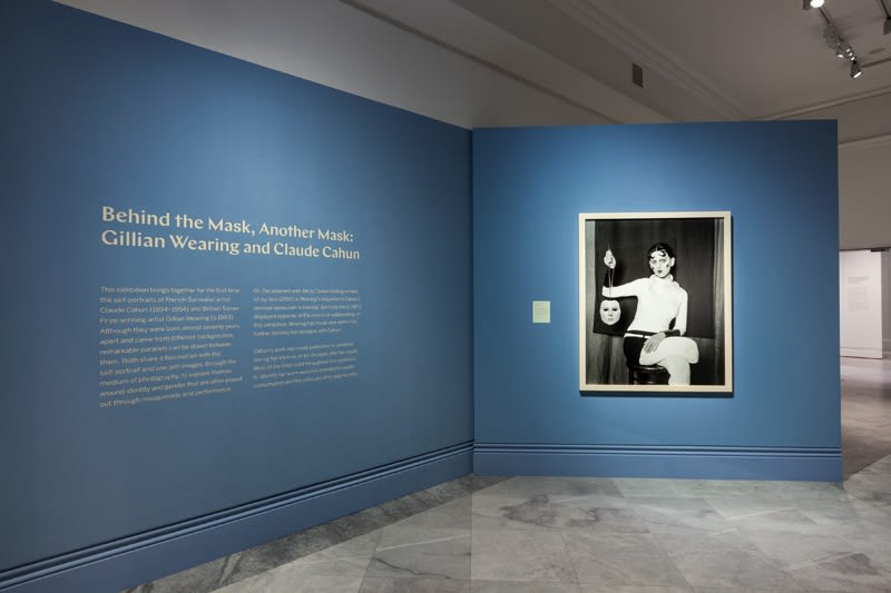 Installation view of Gillian Wearing at National Portrait Gallery, photograph as Claude Cahun