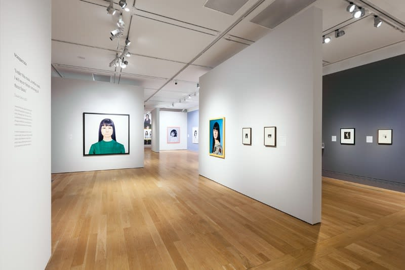 Installation view of Gillian Wearing at National Portrait Gallery, family portrait phtographs