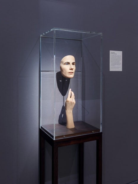 Installation view of Gillian Wearing at National Portrait Gallery, mask sculpture