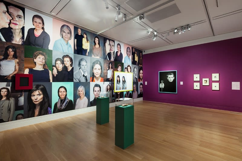 Installation view of Gillian Wearing at National Portrait Gallery, photographs and wallpaper