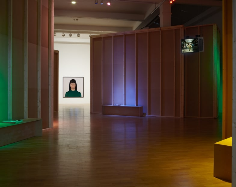 Installation view of Gillian Wearing at Whitechapel Gallery, London, self portrait photograph