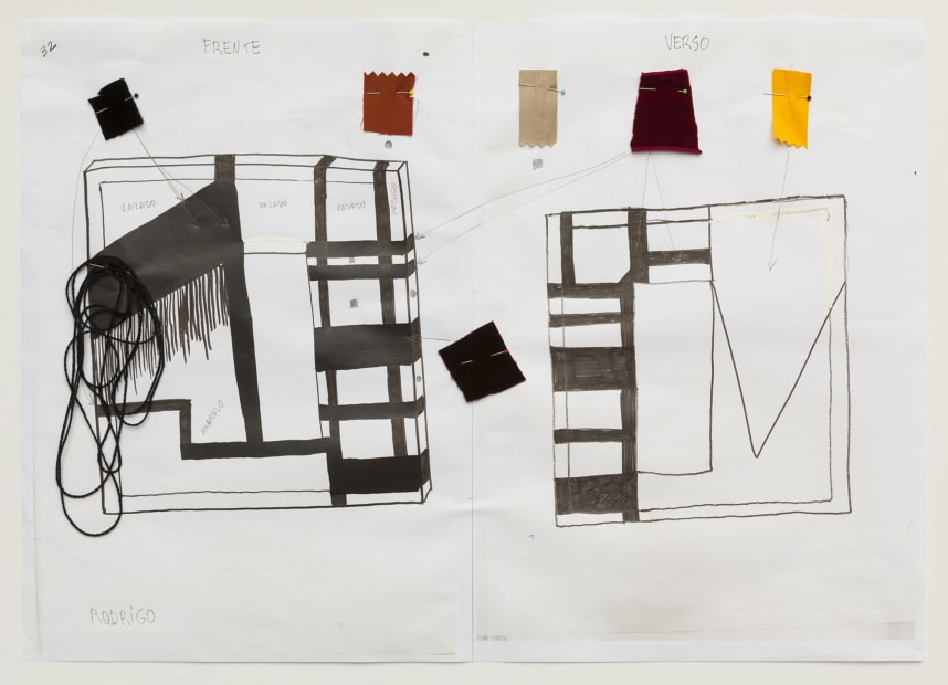 image of a preliminary sketch with fabric samples