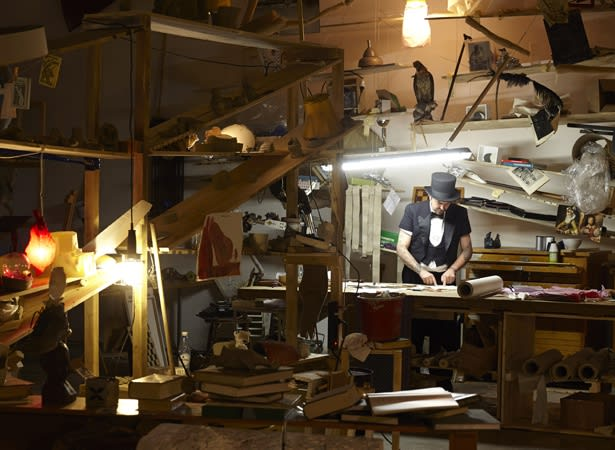 image of Laura Lima sculptural installation, magician at work