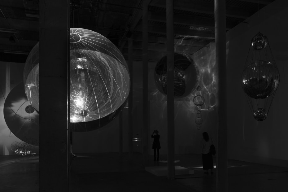 installation image of Saraceno exhibition at Palais de Tokyo