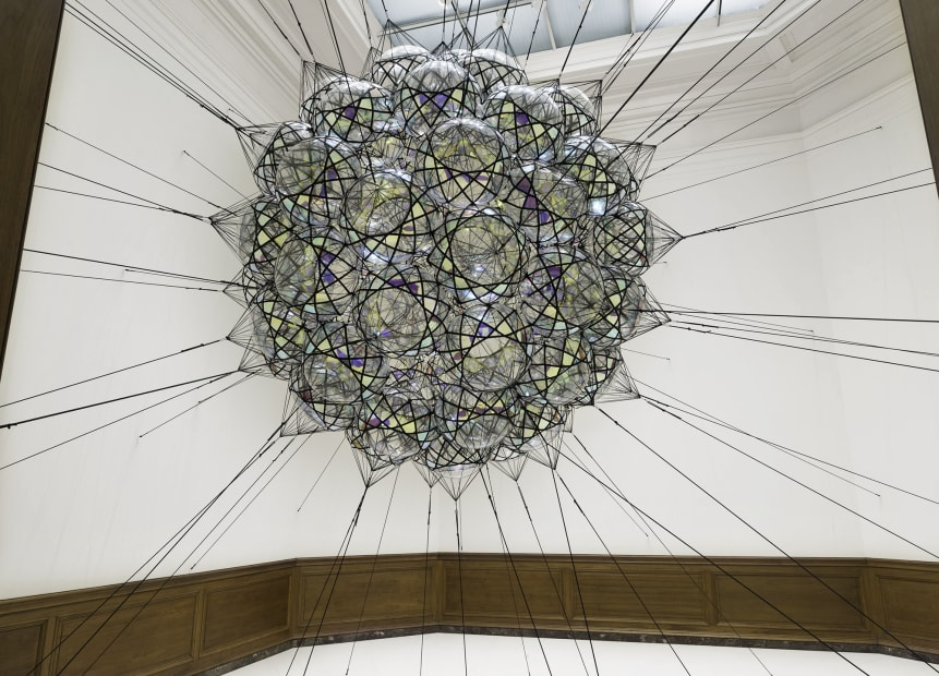 image of Saraceno biosphere sculptures connected to the room
