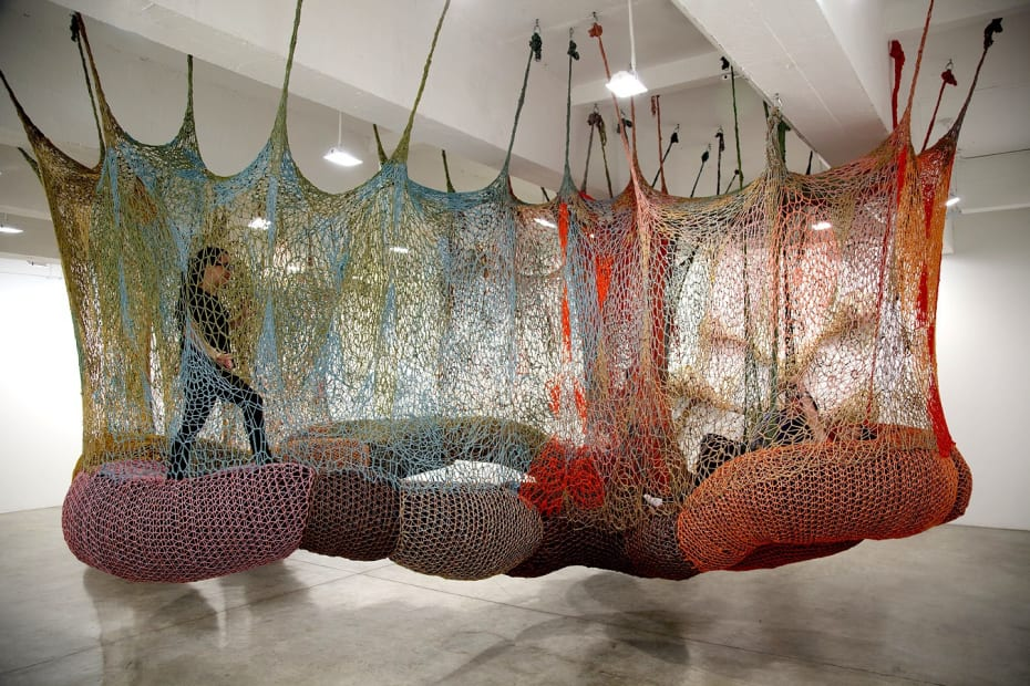 Ernesto Neto hanging crochet tunnel installation