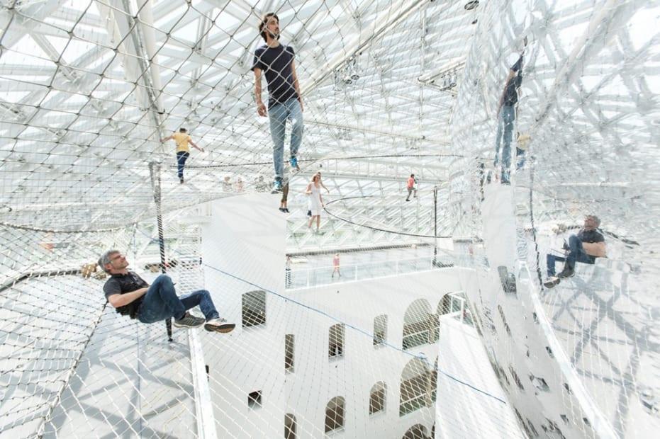 image of Saraceno hanging nets with people walking on them