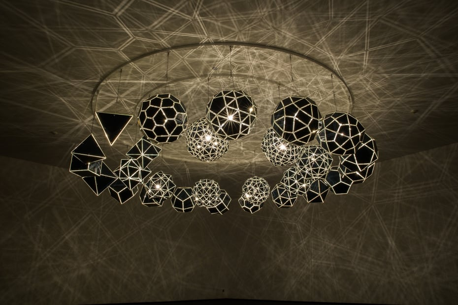 image of geometric sphere sculptures with lights
