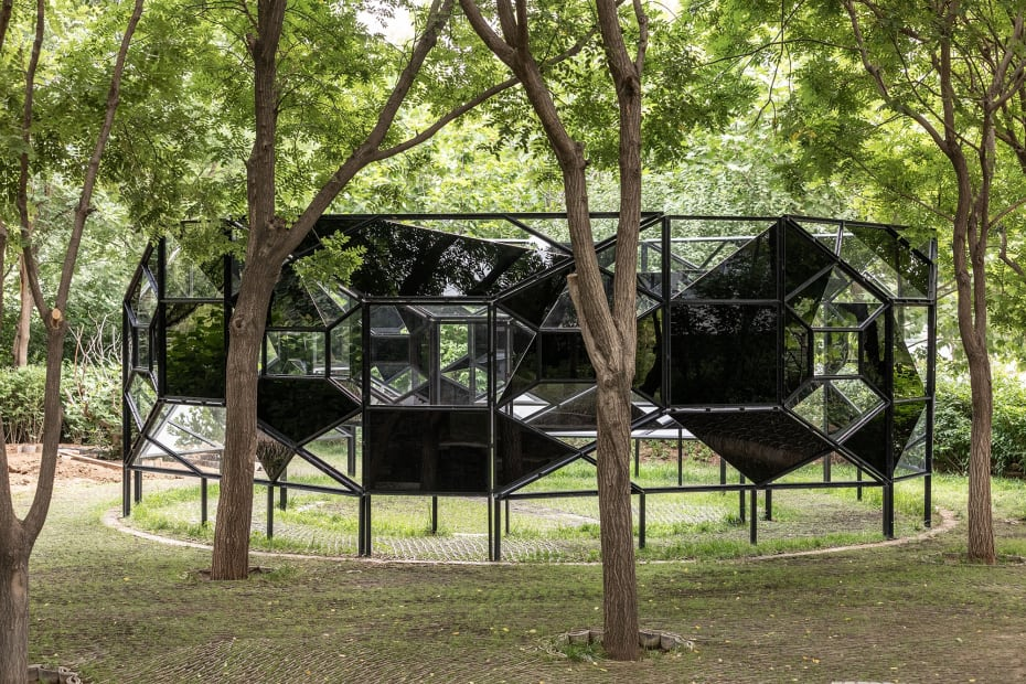 image of an outdoor geometric sculpture
