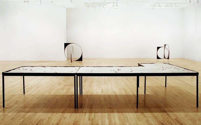 image of Nicole Wermers circular sculpture with table of sand and cigarettes