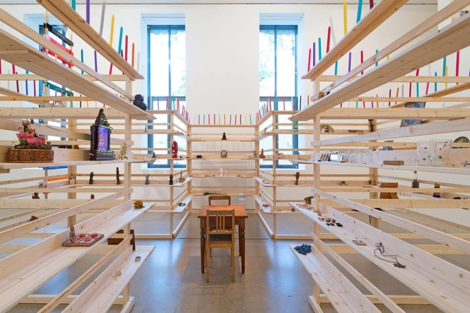 image of Meschac Gaba structural shelves as sculpture