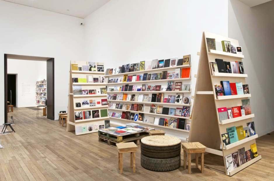 installation image of Meschac Gaba works at Tate, bookstore stand