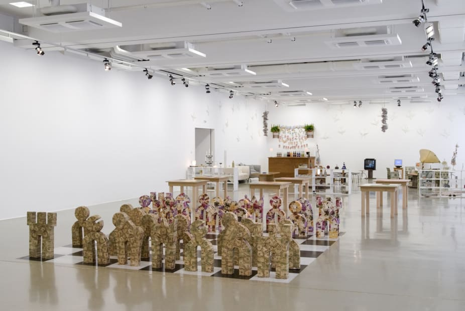 installation view of sculptures, chess set