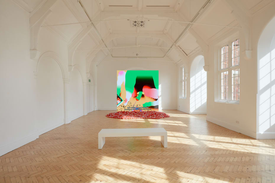 installation view of Wong Ping video