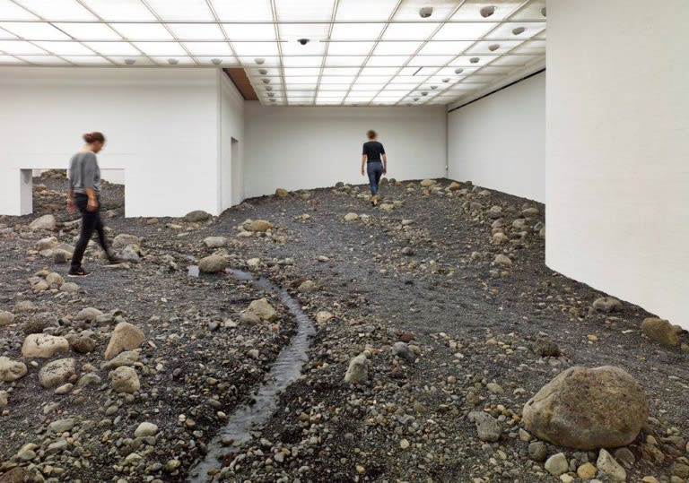 image of Olafur Eliasson installation, riverbed inside of museum