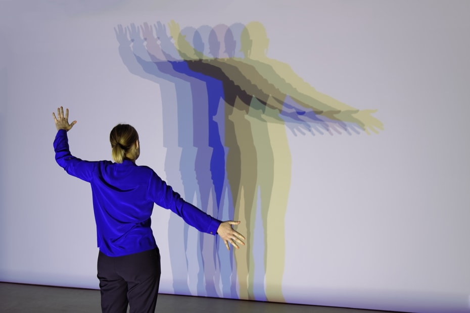 image of person with colorful shadows