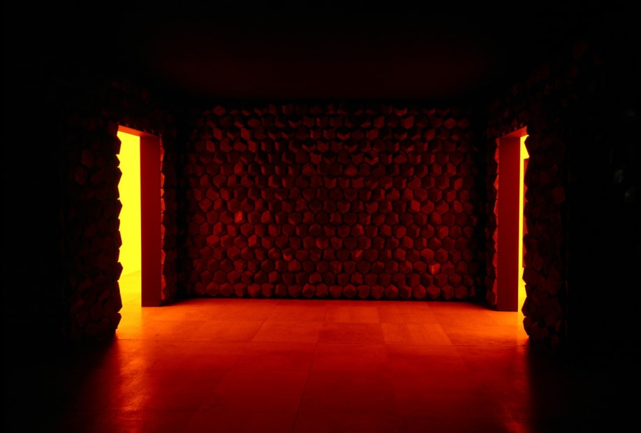 image of brick wall with yellow light