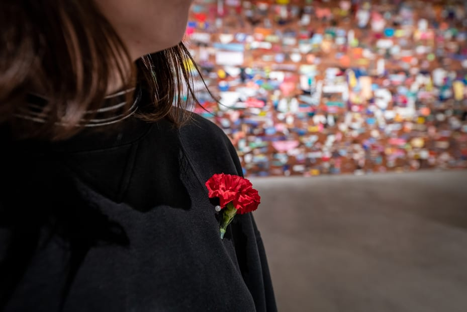 image of flower pinned to sweater