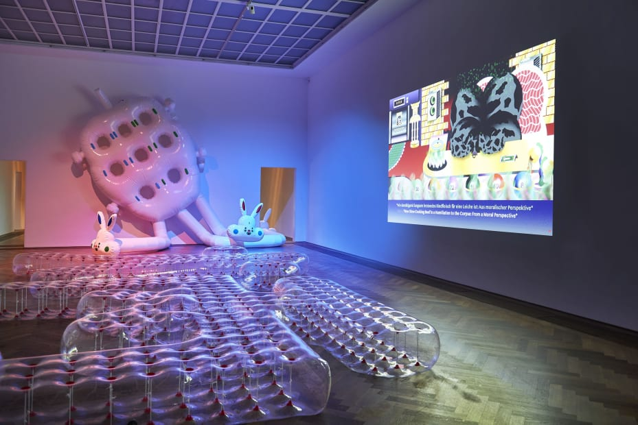Image of Wong Ping video at Kunsthalle Basel and blow up rabbit