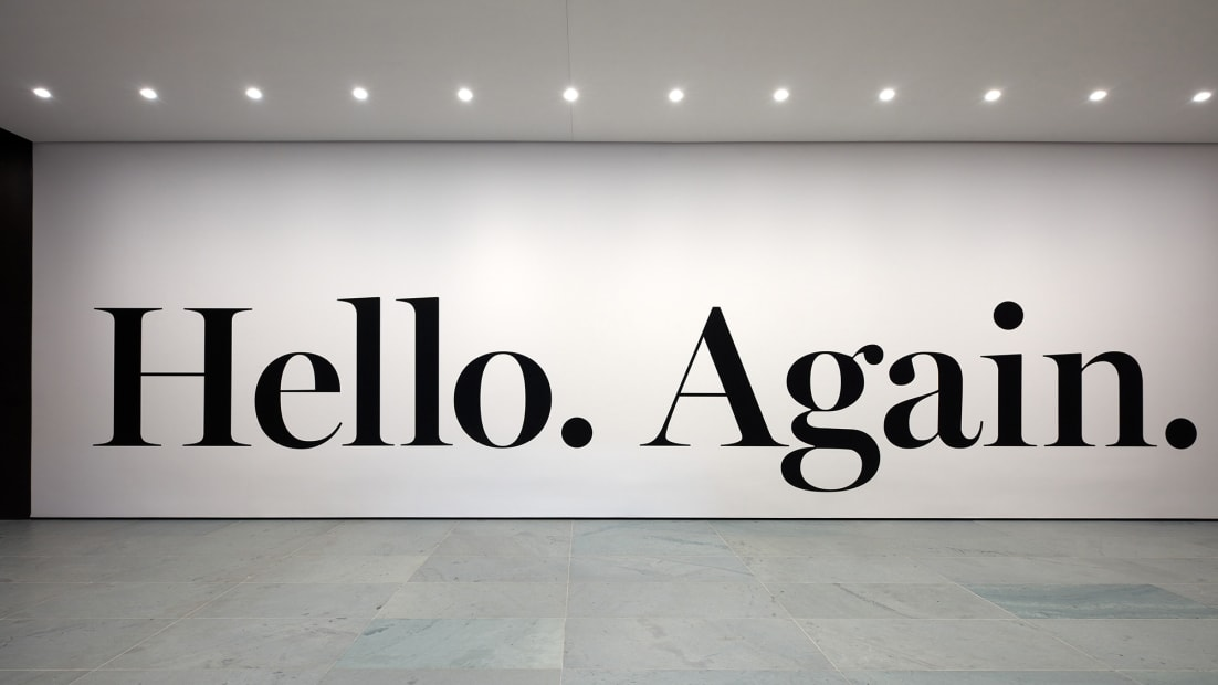 image of wall text: Hello Again