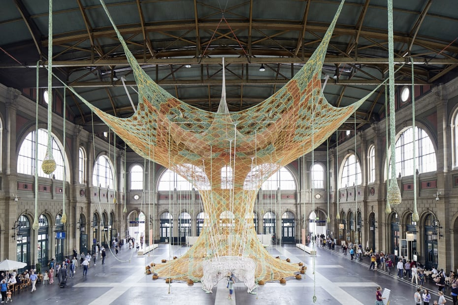 image of Large crochet installation by Ernesto Neto