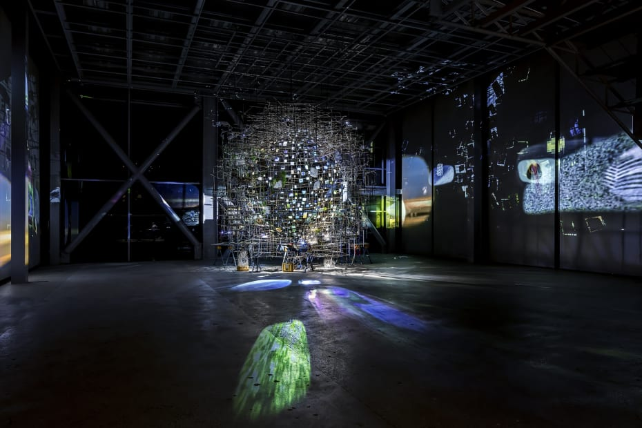installation image of Sze projection sculpture at Cartier Fondation
