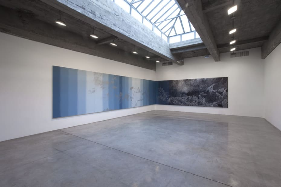 Cinto installation - blue paintings
