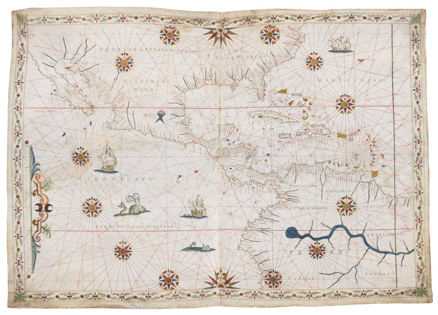 Magnificent Portolan chart of Central America
