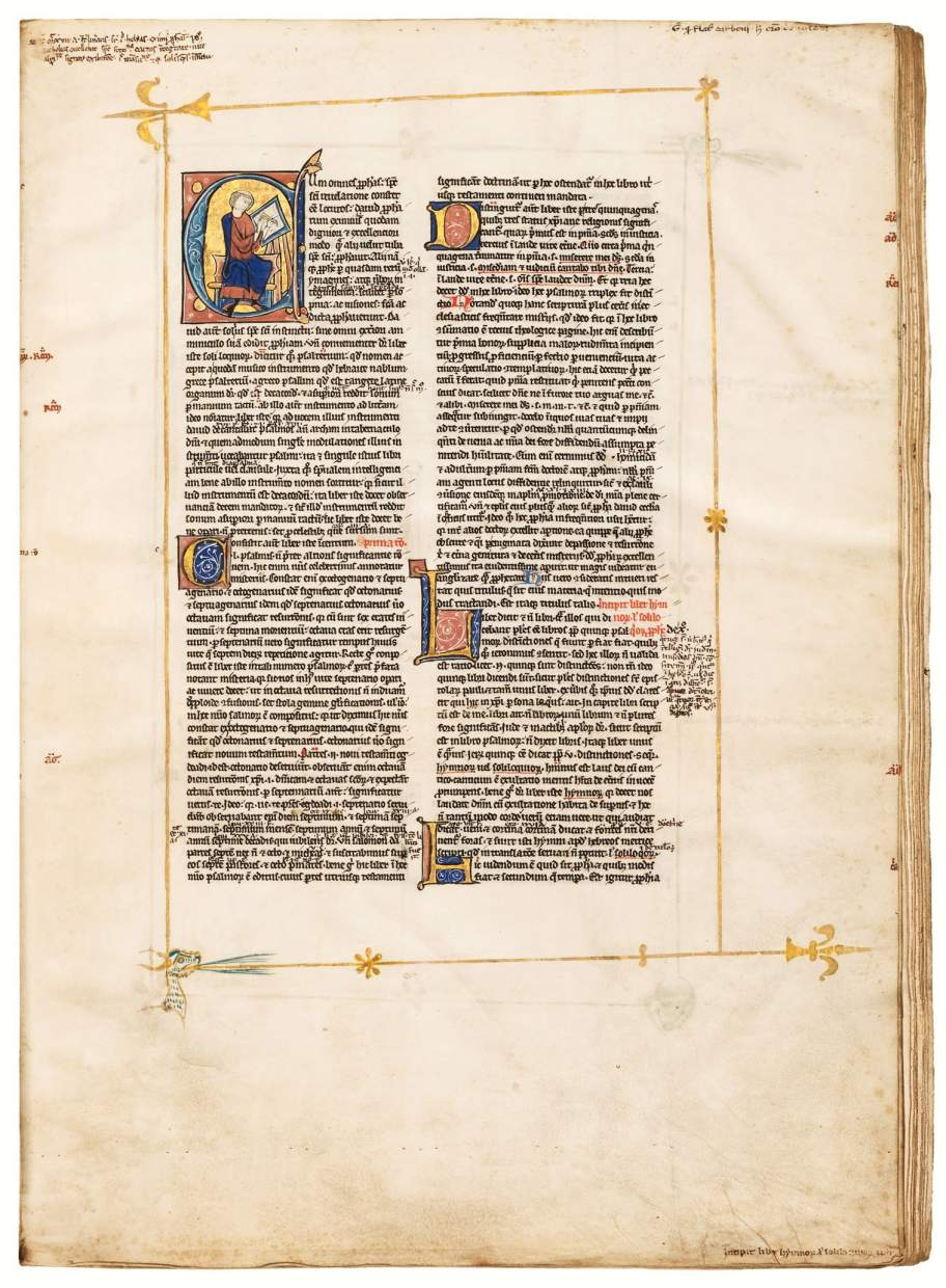 Peter Lombard's Magnificent Psalms Commentary with Gold Margins