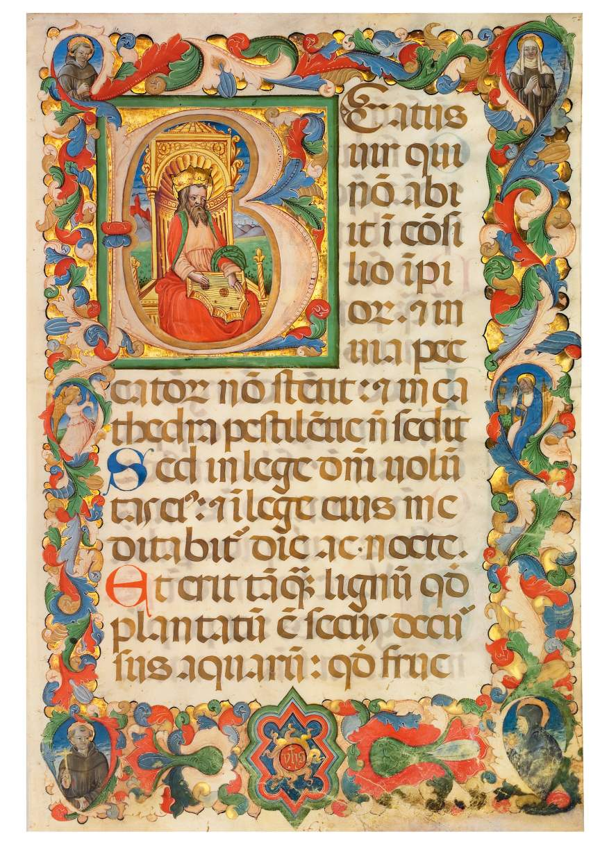 David playing music from a Bolognese Psalter
