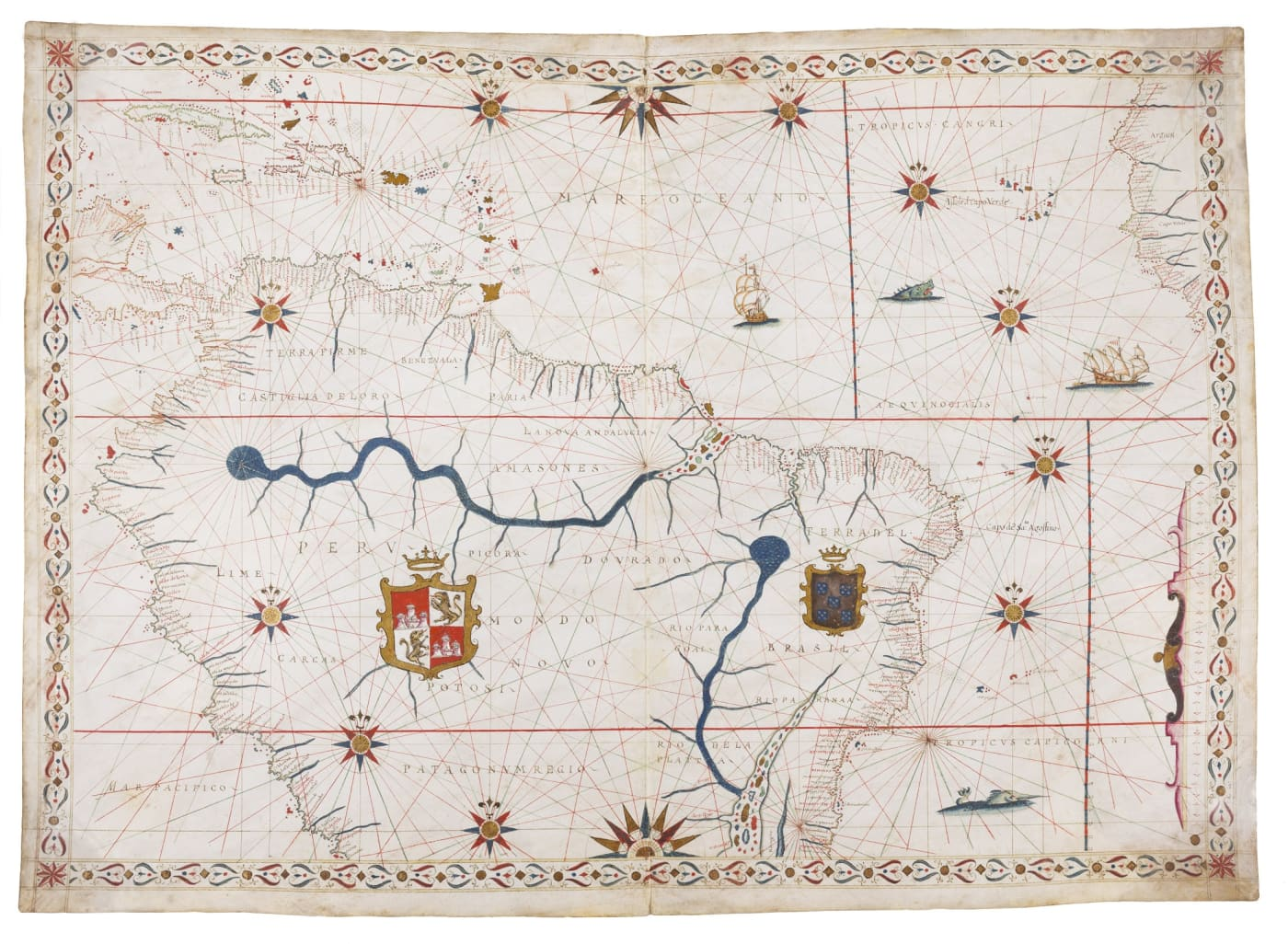 Magnificent portolan chart of northern part of South America