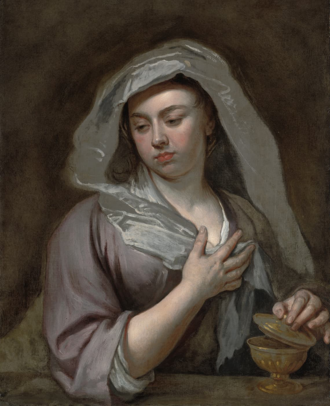 Sir Godfrey Kneller, portrait of a young lady, this is perhaps the artist's daughter. She wears a silk dress and white veil.