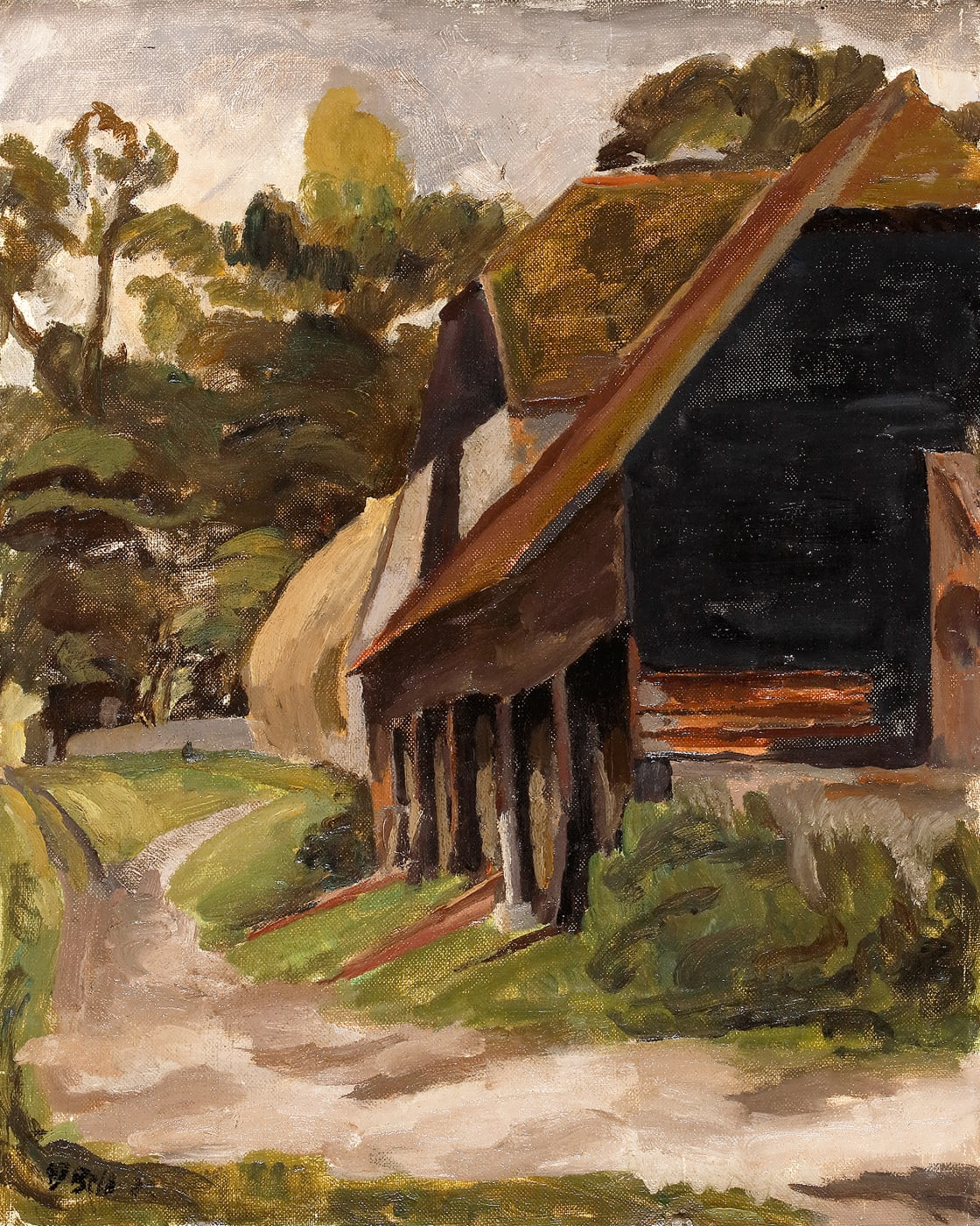 The Barn at Charleston Farm House by Vanessa Bell. Spring/Summer day at Charleston with full green trees, grass and the brown barns