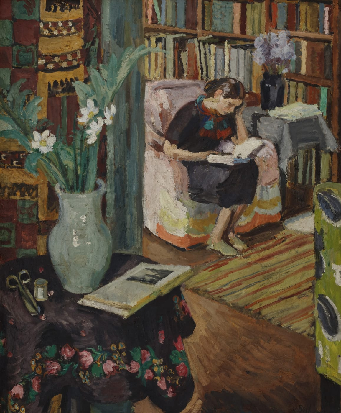 Painting of Angelica Garnett, Vanessa Bell and Duncan Grant's daughter. In The Studio at Charleston, painted by Vanessa Bell]