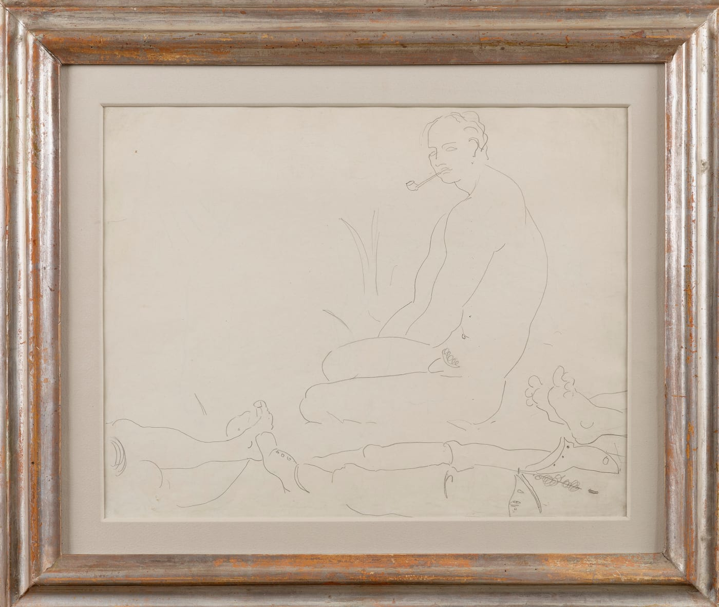 Drawing by Arthur Lett Haines, Cedric Morris smoking a pipe.